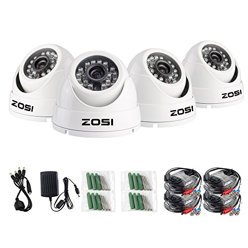 Ir Security Video Infrared Color (ZOSI 4 Pack 1080P 2.0MP Outdoor Indoor 3.6mm 24PCS Infrared IR Lens Day Night CCTV IR Cut White Dome Surveillance Security Camera Compatible for TVI DVR)