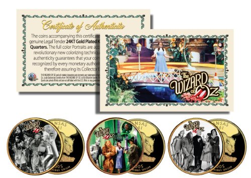 (Wizard of Oz MOVIE SCENES Gold Plated Kansas State Quarter 3-Coin Set LICENSED)