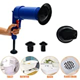 Oksale High Pressure Air Drain Blaster Pump Plunger Sink Pipe Clog Remover with 4 Suckers for Different Size of Pipelines (Blue)