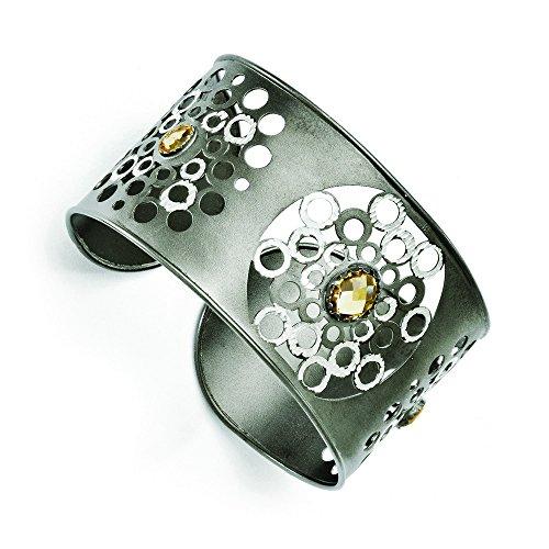 Argent 925/1000 plaqué ruthénium JewelryWeb Cuff Bracelet-Citrine