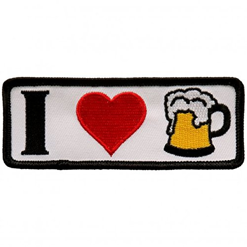 - I Heart Beer Iron On Patches - Embroidered Artwork Applique Patch, 4