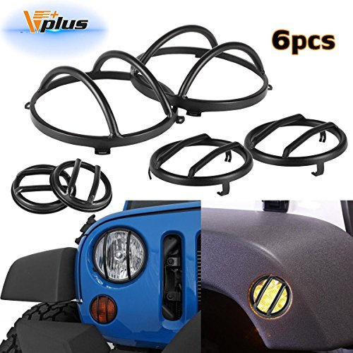 Vplus Black Stainless Steel Guard Covers Kit Front Headlight & Side Marker & Front Signal Protectors Replacement for 2007-2016 Jeep Wrangler JK Rubicon Sahara Sport 2/4 Door (6PCS/Set)