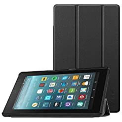 FINTIE Slim Case for Amazon Fire 7 Tablet (Previous Generation – 7th, 2017 Release), Ultra Lightweight Slim Shell Standing Cover with Auto Wake/Sleep, Black