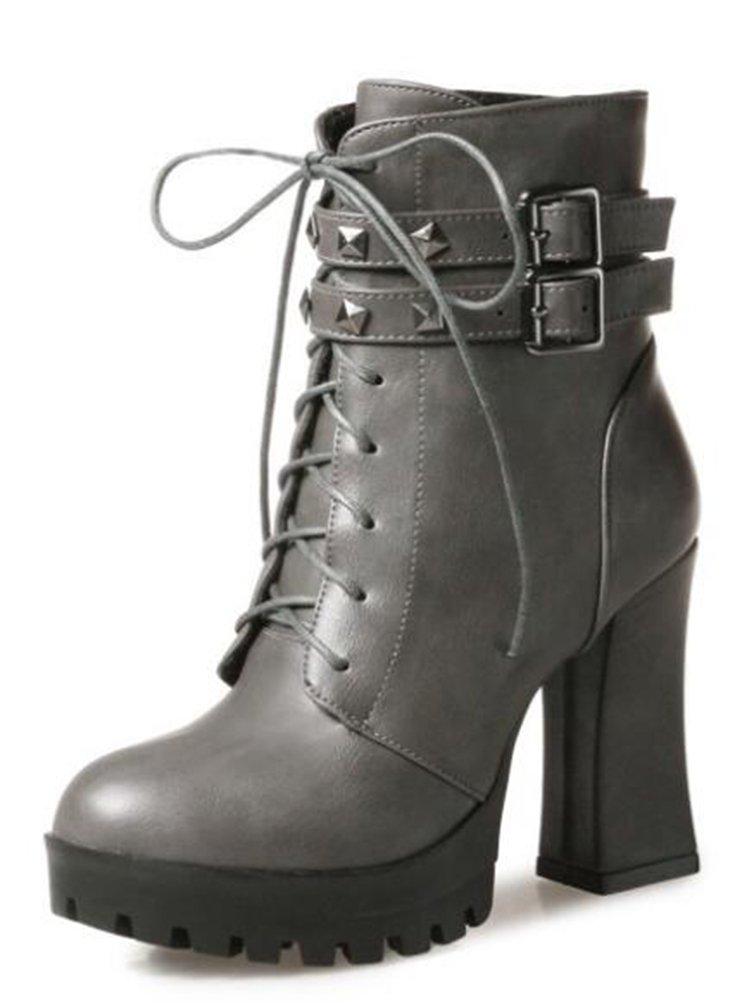 Easemax Damen Schick Nieten Kurzschaft Lace Up High heels Blockabsatz Stiefel Mit Absatz  32 EU|Grau