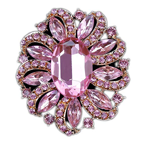 azhuang Classic Crystal Rhinestones and Large Oval Acrylic Flower Brooch Pins for Women in, Pink Gold