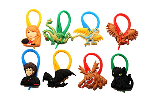 [AVIRGO 8 pcs Colorful Soft Zipper Pull Charms for Backpack Bag Pendant Jackett Set # 56-4] (Kids Toothless Night Fury Costumes)