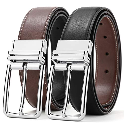 Reversible Belts for Men SOPONDER 44 Belt 41&42 Waist Size Adjustable Big and Tall Mens Genuine Leather Belts for Jeans Khakis Formal Dress Suit Work Pants Rotated Silver Buckle