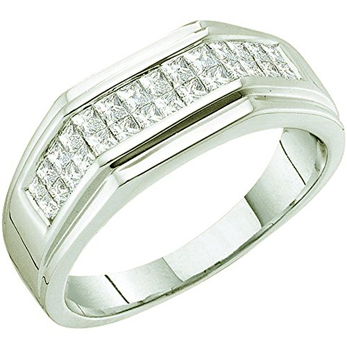 1.00 Carat (ctw) 14k White Gold Princess White Diamond Men's Hip Hop Invisible Wedding Anniversary Band by DazzlingRock Collection