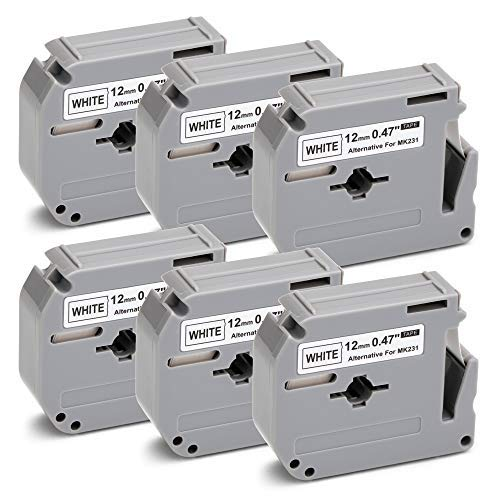 JetSir M-231 MK231 M-K231 Label Tape Cartridge 6-Pack,Use on Brother P-Touch PT-90 PT-M95 PTM95M PT-70SR PT-80 PT-70BM PT-70 PT-55BM Label Maker, Black on White, 0.47 in x 26.2 ft/(12mm) X (8m)