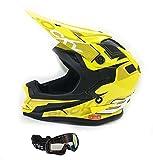 3GO Motorcycle XK188 Rocky Kids Motocross Quad Pit Bike Junior Off Road Enduro MX Helmet Yellow AND X1 Black Goggles - Yellow - S