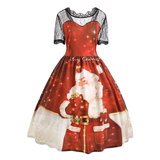 Amazon.com  Christmas Women Dress-Han Shi Plus Size Xmas Print High Waist  Lace Patchwork Loose Gown  Clothing efeda76e6ea3