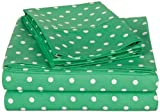 Superior Polka Dot Sheet Set, 600 Thread Count Cotton Blend Bedding Sets, Soft and Wrinkle Resistant Sheets with Deep Fitting Pockets - Twin XL, Sage