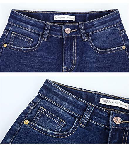 Jeans Vita Summer 5980 Bleach Caviglia Nappa Cool Skinny Donne Blue Matita Metà Red Stretch Leaf Ricamo 0wPwnq1g