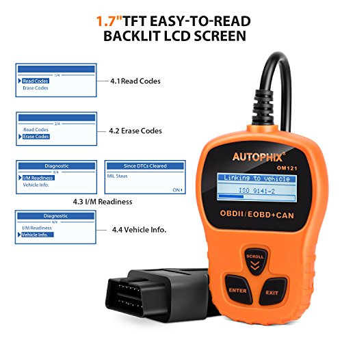 OBD II Code Reader, Autophix OM121 Car Engine Fault Automotive Diagnostic Scan Tool Check Engine Light with I/M Readiness for Ford GM Acura BMW Buick and More (Orange) by AUTOPHIX (Image #2)
