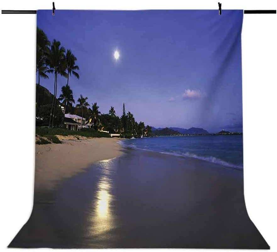 Hawaiian 10x12 FT Photo Backdrops,Houses Clear Sky Full Moon Reflection at Daybreak on a Hawaii Beach Exotic Life Background for Party Home Decor Outdoorsy Theme Vinyl Shoot Props Navy Sand
