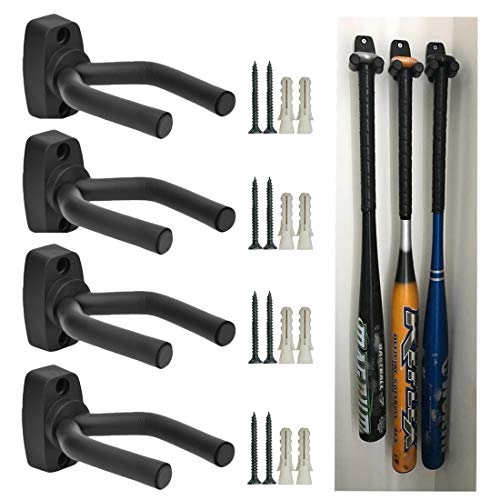 - CACTIYE Wall Mount Vertical Baseball Bat Holder(4, Black)