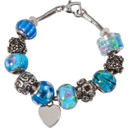 Memorial Gallery Celestial Blue Remembrance Bead Pet Heart Urn Charm Bracelet, 9'' by Memorial Gallery