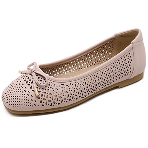 GESIMEI Womens Ballet Shoes Flat Bow Decoration Slip On Casual Comfort Ballerina Pumps Pink