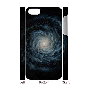 3D iPhone 4/4s Case,iOS 8 Default Spiral Galaxy Hard Shell Back Case for White iPhone 4/4s