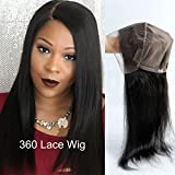 Pre Plucked 360 Lace Frontal Wig with Baby Hair Brazilian Straight Hair Lace Wigs for Blacek Women Natural Color Human Hair Wigs 150 Density (20'' Straight lace Wig