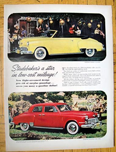 - 1949 Studebaker Champion Convertible+ Commander Original 13.5 * 10.5 Magazine Ad