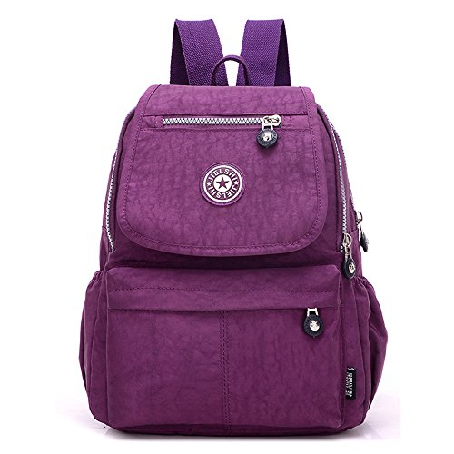 Women's Small Handbag Nylon Shoulder Bag Casual Day Pack Multi-Pocket Casual Waterproof Nylon Bags Travel School Bag Laptop Backpack Rucksack Purple