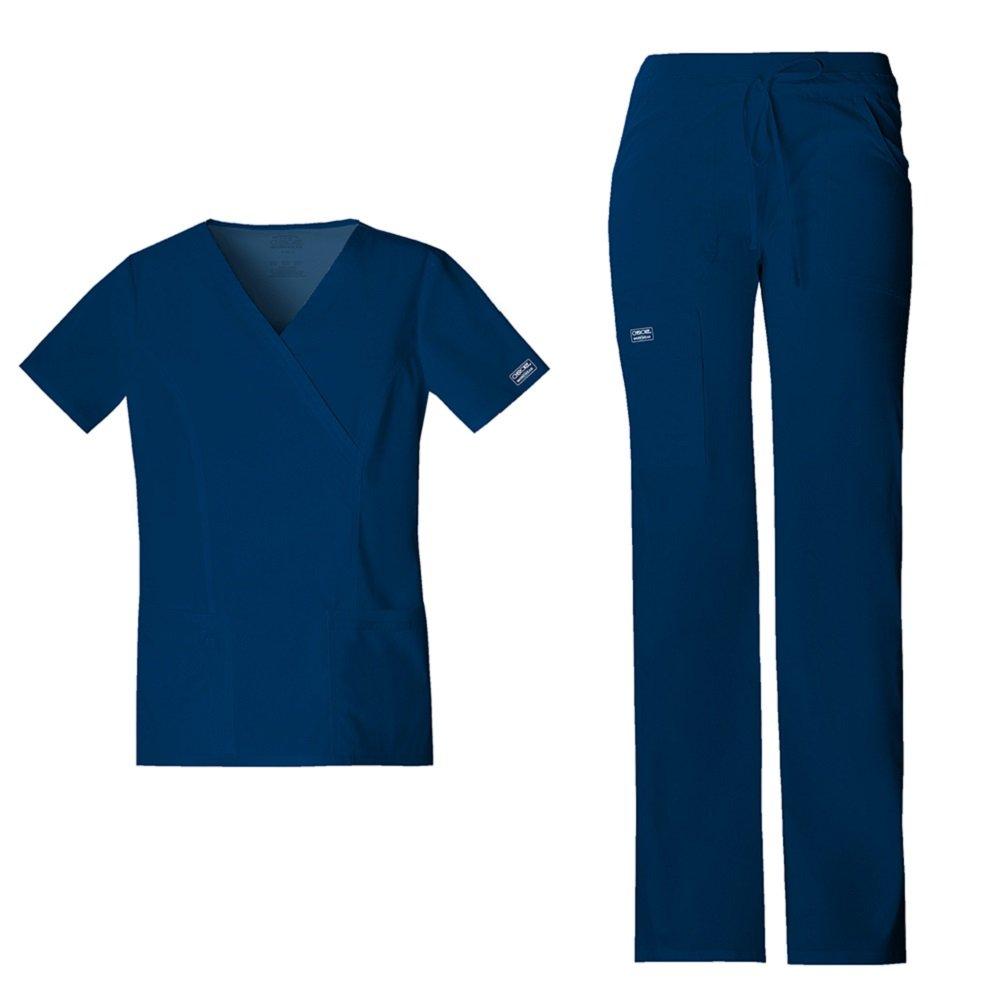 Cherokee Workwear Womens 4728 V-neck Top Mock Wrap & 24001 Drawstring Flared Leg Comfort Pant Medical Uniform Scrub Set Top & Pants + FREE GIFT (Navy - Small)