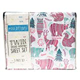 Bed time Woodland Creatures Multi Color Twin Sheet Set - Bear, Owl, Deer Sheets (Forest Animals)