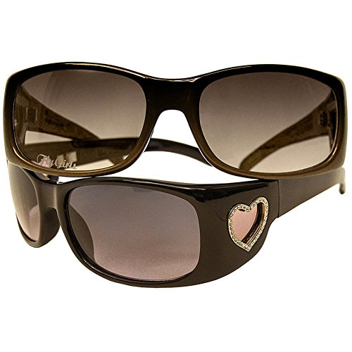 Black Flys Women's Flyliscious Heart Sunglasses CAR/ BRN - Wire Sunglasses Frame Heart