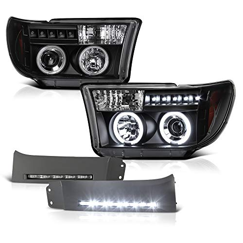 VIPMOTOZ Black CCFL Halo Ring Projector Headlight + Paintable LED Strip Front Bumper Fender Extension Panel Lamp Housing Assembly Replacement For 2007-2013 Toyota Tundra & 2008-2017 Sequoia ()