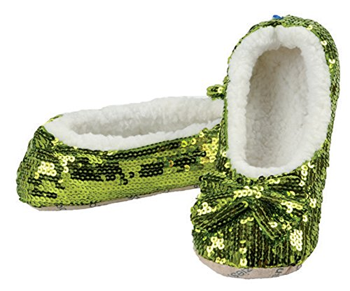 Glitter Ballet Lime Green Shoes (snoozies! Kids and Tweens Sparkle Sequin Slippers Lime Green 6/7)