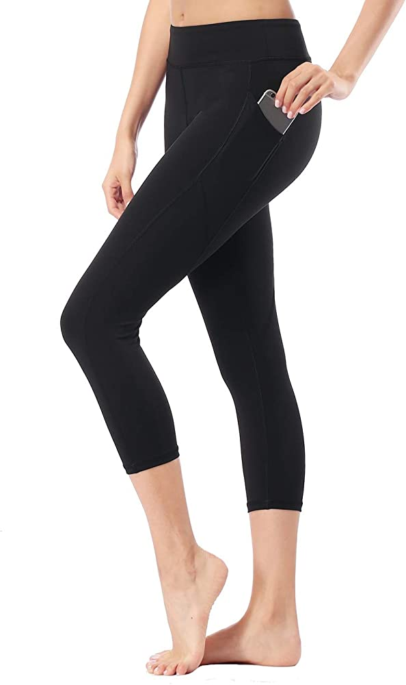 Pockets Compression Yoga Pants Tummy Control 4 Way Stretch Workout Running Yoga Leggings Non See-Through