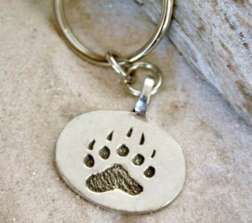 Pewter Bear Claw Paw Gay Pride Lgbt Keychain Key Tag (Bear Pewter)