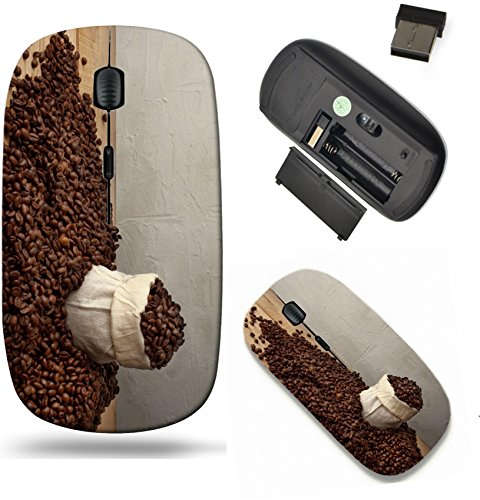(Liili Wireless Mouse Travel 2.4G Wireless Mice with USB Receiver, Click with 1000 DPI for notebook, pc, laptop, computer, mac book coffee beans in a jute bag rustic style picture)