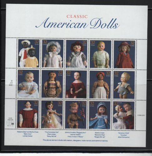 American Stamp Collectibles - Classic American Dolls Collectible Stamp 32 Cent Sheet - Scott 3151