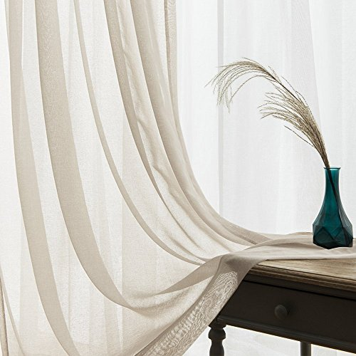 Sheer Curtains for Bedroom 84 inch Length Tab Top Window Curtain Sheers for Living Room Voile Drapes, 2 Tiebacks Included, 1 Pair, Nature (Voile Tab Top Curtain Panel)