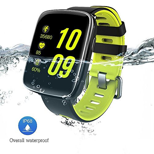 GV68 Smart Watch 1.54 inch HD LCD Display Silicone Strap,Wrist Watch Support 4.0 Bluetooth IP68 Waterproof Smartwatch Compitable for iOS and Android Green