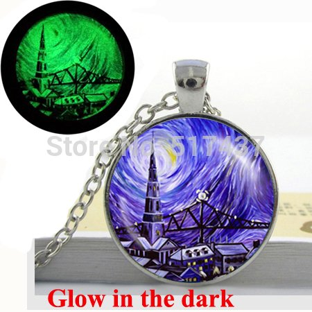 - Pretty Lee Glow In The Dark Necklace Van Gogh Cafe Terrace Art Pendant Van Gogh Jewelry Glass Cabochon Necklace Pendant Glowing Jewelry