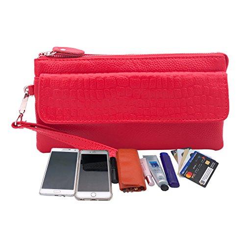 de y con de genuino de pulsera de Shalwinn teléfono celular larga Red embrague bolsa cartera hombro la hombro cuero muñeca correa de suave correa Crossbody 887 bolsa bolsa rose de EXqwgUqRx