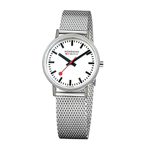 Mondaine Men's Classic 36 mm Watch with Stainless Steel Polished Case White Dial and milanaise mesh Bracelet Strap A660.30314.11SBV (Polished Dial White)