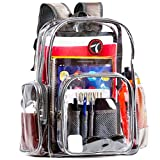 Tamak Heavy Duty Clear Backpack, Transparent See-Through Back Pack, Sturdy and Durable Material, Cool Modern Design, Ideal for School, Airport, Travel