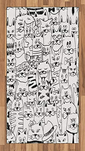 Psychedelic Area Rug Cats with Costumes Bow Ties