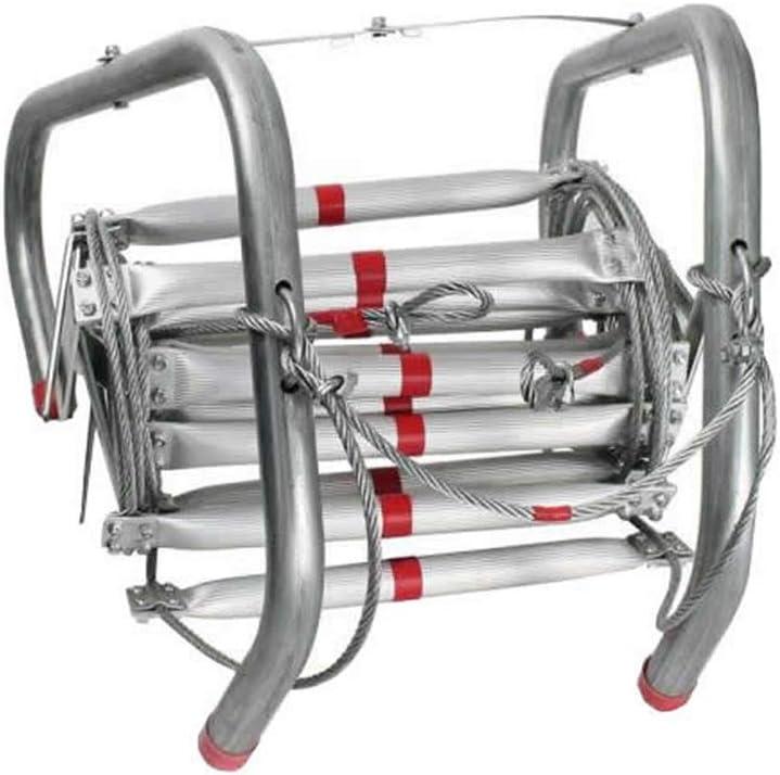 Escalera de cuerda de escape de incendios de aluminio plegable de 10 metros: Amazon.es: Bricolaje y herramientas