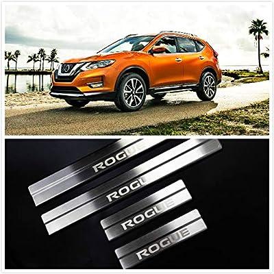 For Nissan Rogue Accessories 2014-2020 Steel Door Cover Door Sill Protector Door Scuff Plate Trim 4pcs: Automotive
