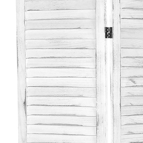 MyGift Whitewashed Wood 3 Panel Screen, Folding Louvered Room Divider by MyGift (Image #4)'