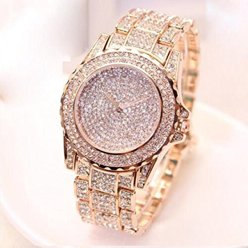 Gotd Diamond Sport Digital Wrist Watch for Women Girl Casual Quartz Band Strap Stainless Steel Analog Wholesale Luxury Fashion Casual Gift Birthday Gilter Bling (Rose Gold)