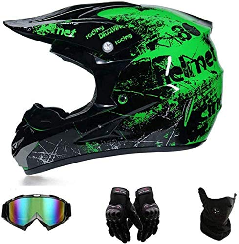 YXLM Motocross-Helm mit Brille, Enduro-Helm, Downhill-Helm für Kinder, Quad Enduro, ATV, Motorrad, Motocross-Helm, DOT…