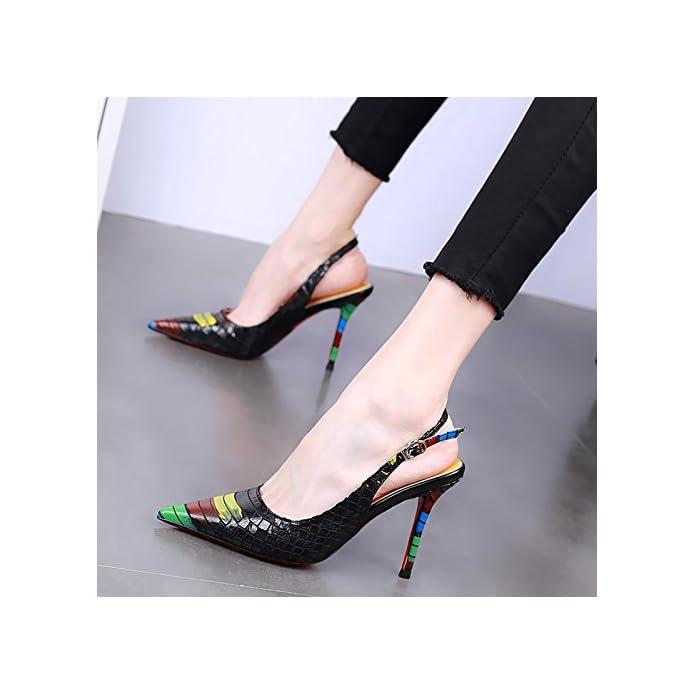 Hbdlh Testa Di 10cm Scarpe Con Tacchi Alti Magri Tallone Superficiale Bocca Da Donna Sexy Dei Colori Una Parola Fibbia Principessa Sola Scarpa