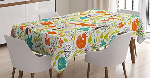 (Cartoon Decor Tablecloth Wild Fox Wolf with Leaves Flowers Leafless Trees Art Decor Print Dining Room Kitchen Rectangular Table Cover Orange Green 75