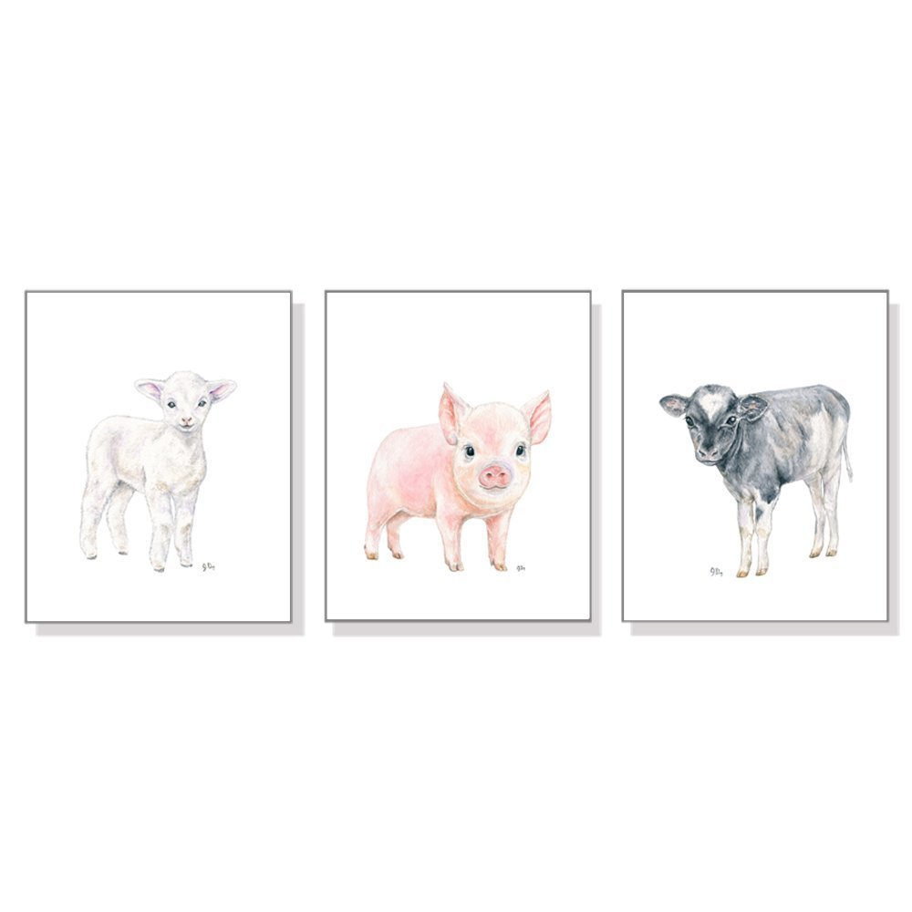 Farm Nursery Decor, Farm Nursery Wall Art Prints Set of 3, Baby Animal Watercolors, Kids Room Girls Boys, Farmyard Lamb Pig Cow